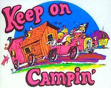 Original Vintage Keep On Campin' Iron On Transfer Dayglo