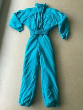 Vintage Nils Women's Ski Suit One Piece Belted Snowsuit Turquoise Blue Size 10