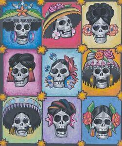 La Señoras Elegantes-8721A Day of Dead Skull Alexander Henry Cotton Quilt Fabric