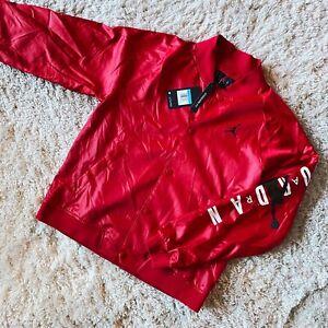 Nike Air Jordan Jumpman Stadium Jacket Bred Red Satin AO0444-687 Size Medium