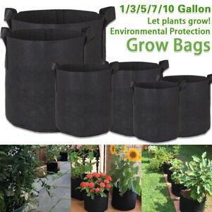 1/3/5/7/10 Garden Grow Bags Fabric Pots Planter Breathable Flower Vegetable AU
