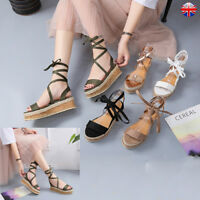 UK Womens Ladies Flatform Espadrille Sandals Lace Tie Up Summer Beach Shoes Size