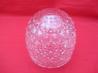 VTG MID CENTURY CEILING LIGHT FIXTURE ROUND TEXTURED GLASS GLOBE SHADE CLEAR