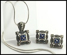 925 Sterling Silver, Cubic Zirconia & Marcasite Pendant Necklace & Earrings Set