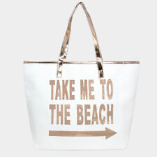 NEW TAKE ME TO THE BEACH LARGE BEACH BAG TOTE ROSE GOLD METALLIC