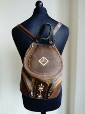 Womens Vintage Brown Vinyl Bucket Rucksack Backpack School Medium Size