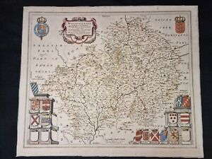 1645 ORIGINAL MAP Worcestershire Warwickshire FOLIO SIZE Hand Coloured ENGRAVED