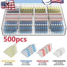 50 500pk Waterproof Heat Shrink Butt Terminals Solder Seal Sleeve Wire Connector