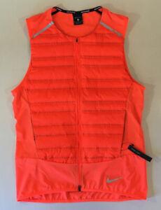 Nike Aeroloft Athletic Goose Down Insulated Reflective Vest Neon Orange Medium