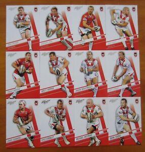 2012 SELECT NRL DYNASTY FOOTY CARD SERIES - ST GEORGE ILLAWARRA DRAGONS TEAM SET
