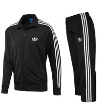 ADIDAS MENS FIREBIRD FULL TRACKSUIT TOP AND BOTTOMS BLACK/WHITE MENS SIZES S M L