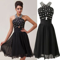 Black Halter Dress Formal Prom/Bridesmaid Cocktail Party Evening Dress Size 6-20