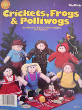 "Crochet Doll Patterns Crickets Frogs Polliwogs 12 Designs for 16"" Doll Bodies"