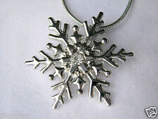 "Snowflake Pendant Silvertone with White Crystal and 17"" Snake Chain Necklace"