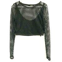 Kardashian Kollection Crop Top Womens Large L Mesh Fishnet Sheer Long Sleeve