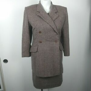 Womens handmade? 2 piece tweed plaid jacket & dress suit no size/ material tags