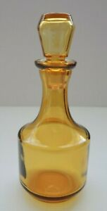 Small amber yellow glass Genie style bottle with glass stopper Vintage FREE POST