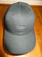 Vans Mens Court Side Embroidered Logo Strap back Baseball Cap Hat Black NWT