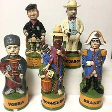 Rare Vintage 1970's Set of 5 Hand Painted Ceramic Figure Liquor Decanters