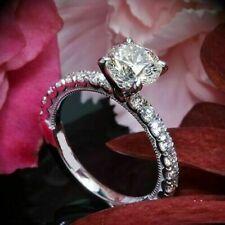 2.15Ct Round Cut Vvs1 White Diamond Engagement Ring in 14K White Gold for Women