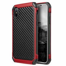 FOR IPHONE X 10 | BLACK RED CARBON FIBER TEXTURE IMPACT RUGGED CASE COVER