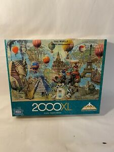 """Mega Puzzles 2000XL The World Bathy-Orographical Jigsaw Puzzle 26.75"""" X 39"""" New"""