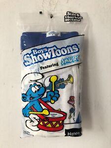 vintage hanes boys kids showtoons smurfs 3-pack briefs underwear size 6 NOS 1985