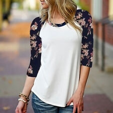 Women 3/4 Sleeve Round Neck Blouse Floral Print T-Shirt Casual Tee Tops New