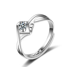 Womens 925 Sterling Silver Cubic Zirconia Endless Heart Solitaire Ring Size Q