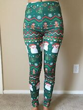 Ugly Christmas Pants leggings xmas sweater santa gingerbread women small