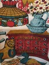 VINTAGE LINEN TEA TOWEL CROWLEY'S NEEDLES GOLD BLUE CAT NEW WITH TAGS