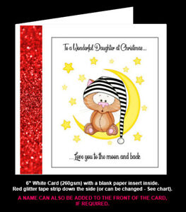'Love You to the Moon & Back' Birthday Card/Christmas Card, Mum, Sister, Dad etc