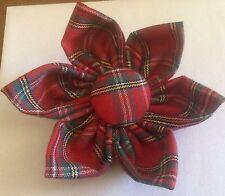 Broche Flor De Tela Escocesa De Tartán 100% tela de algodón (Hecho En Cornwall)