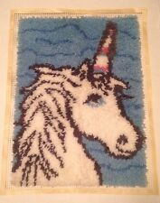 """Unicorn Latch Hook Rug / Wall Hanging Completed Front Only Not Backed 19"""" x 26"""""""
