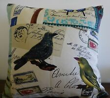French Script Postcards Birds Cushion Cover 45 x 45cms