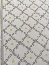jaquard poly blend fabric by the yard gray lime green off white background