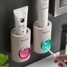 Automatic Toothpaste Dispenser Dust-proof Toothbrush Holder Wall Mount Stand
