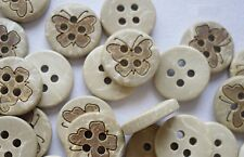 "Lot of 10 BUTTERFLY 4-hole Coconut Shell Buttons 1/2"" (12mm) Craft (341)"
