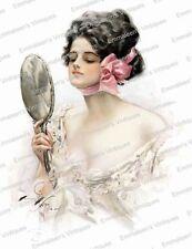 Vintage Image Fisher Victorian Woman Vanity Mirror Waterslide Decals WOM972
