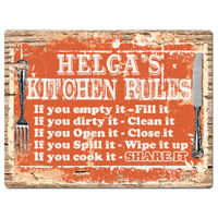 PPKR0957 HELGA'S KITCHEN RULES Chic Sign Funny Kitchen Decor Birthday Gift