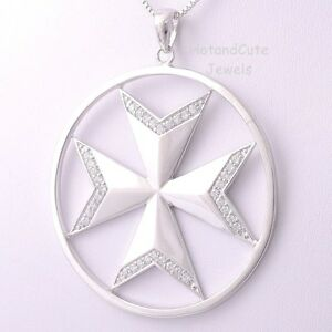 Sterling Silver Malta MALTESE CROSS Jewelry Pendant Extra Large w CZ Crystals