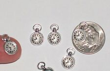 2 miniature dollhouse tiny little silver Clock pocket watch time pendant charms