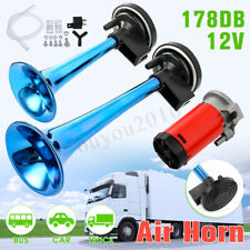 178DB Super-Loud Blue 12V Air Horn Dual Trumpet Compressor Car Truck Train Boat
