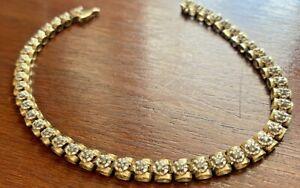 "10k Yellow Gold 44 Diamond .22ctw Tennis Bracelet 8.25"" Long"