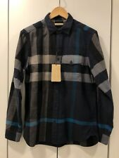 New with Tags BURBERRY Jamie Exploded Check Pocket Flannel Shirt Ink Blue