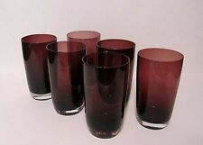 Set of 6 Fantastic Mcm Amethyst/Purple Tumbler Tea Glasses With Clear Bottom
