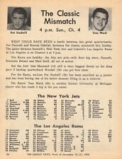 1970 FOOTBALL TV AD~NEW YORK JETS vs LOS ANGELES RAMS~TOM MACK~PAT STUDSTILL