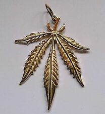 9ct Gold Large Ganja Cannabis Hash Leaf Pendant 5.6g Hallmarked