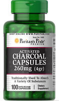 ACTIVATED CHARCOAL DIGESTIVE  STOMACH GAS HEALTH 100 Caps 260 mg PURITAN'S PRIDE