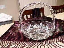IMPERIAL GLASS? CUT/POLISHED GLASS  BASKET W/HANDLE STRAWBERRY W/FAN SERVE DISH